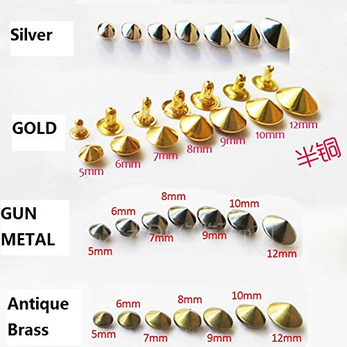 Garment Rivet - 200 Set Antique Brass/Silver/Gold/Gun Metal Cone Steeple Rivet Metal Spike Studs Leathercraft DIY Fashion Biker Rapid - (Color: 6mm)