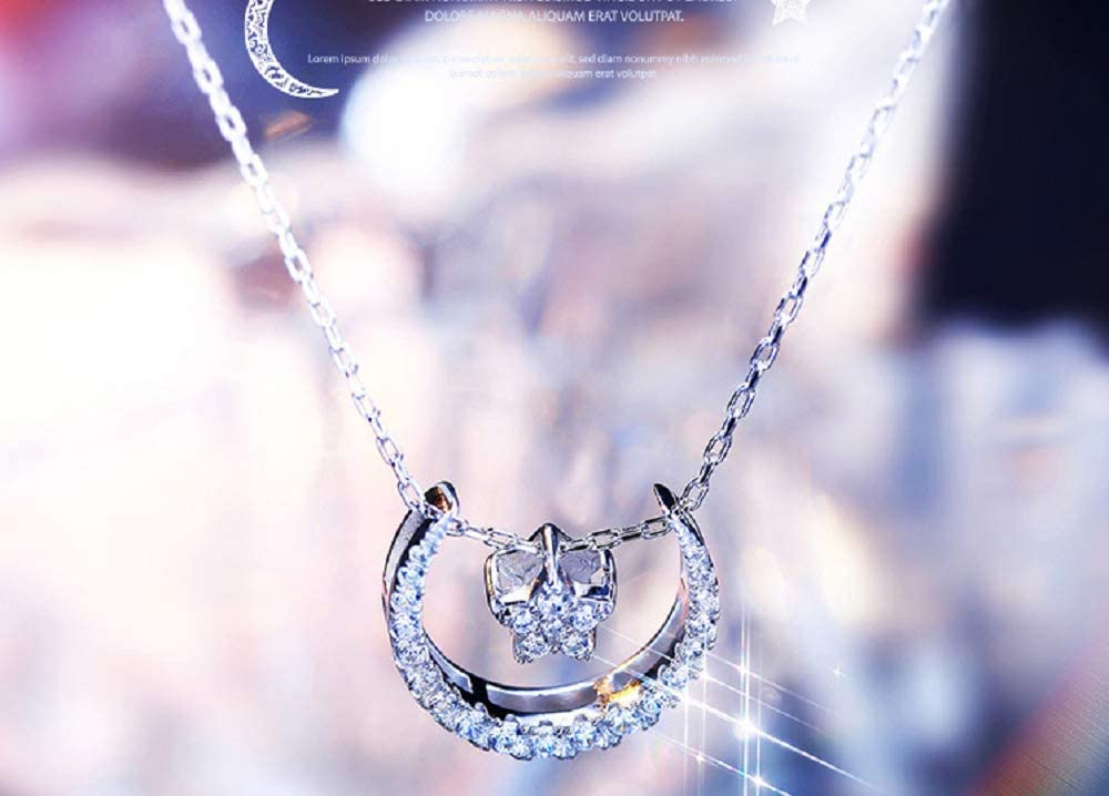 Weishu Women's Simple S925 Sterling Silver Star Platinum Pendant Star Pendant Necklace CZ Clavicle Chain Cubic Zirconia Necklace 18 Inch