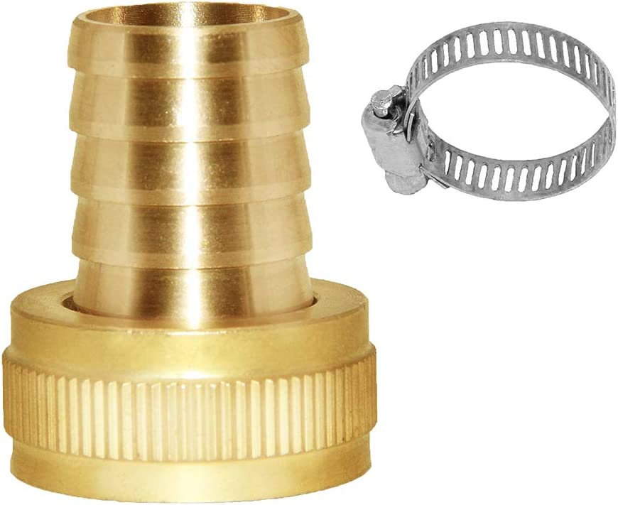 "Joywayus Garden Hose Pipe Connector Brass Fitting 3/4"" Barb x 3/4"" GHT Female Thread Swivel Round Fitting with Stainless Clamp House/Boat/Lawn/Power Wash/Irrigation"