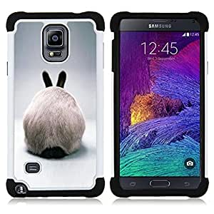 - rabbit hare bunny white ears furry grey/ H??brido 3in1 Deluxe Impreso duro Soft Alto Impacto caja de la armadura Defender - SHIMIN CAO - For Samsung Galaxy Note 4 SM-N910 N910