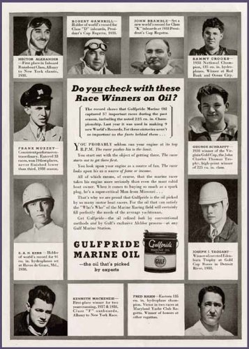 (Famous Powerboat Racers in 1939 GULFPRIDE Marine Oil AD Original Paper Ephemera Authentic Vintage Print Magazine Ad/Article)