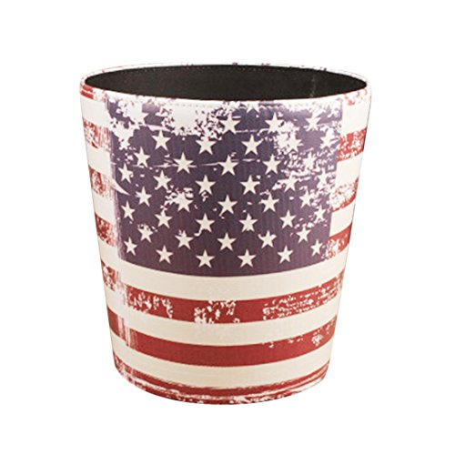 - Wastebasket, Yamix Retro European Style Household Home Office Round PU Leather Waste Bin Paper Basket Trash Can Dustbin Garbage Bin Waste-paper Basket Ashcan Ashbin without Lid - Stars Stripes Pattern