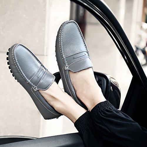 Abby 9009w Mens Körning Loafers Plus Ull Varm Vinter Elegant Fritid Bekväma Smarta Grå