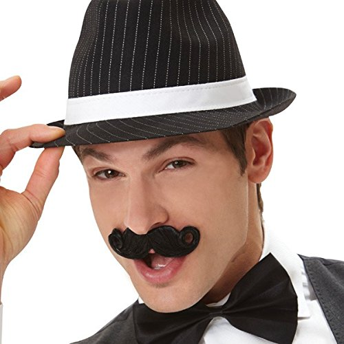 [Wacky Facial Hair Black Mini Handlebar Moustache Costume Accessory, Self Adhesive, 1 piece] (Throwback Halloween Costumes)