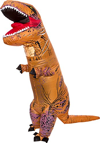 [Inflatable Dinosaur Costume - Adult Giant Jurassic T-Rex Blow Up Halloween Costume By Splurge Worthy Toys And Games (Brown)] (Dance Costumes Made Measure)