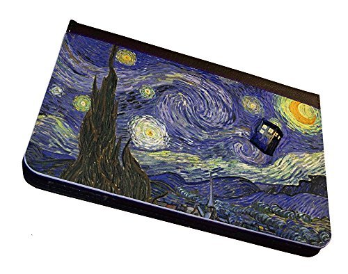 Tardis Doctor Who Vincent van Gogh iPad Mini Leather Case, Cover, Black. For Apple iPad Mini Tablet. With Multi-Angle Stand Feature. Compatible with iPad mini 3, iPad Mini 2, iPad Mini. (Dr Who Ipad Mini Case)