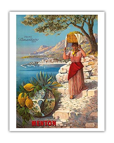 (Menton, The Pearl of France - Le Pont St. Louis - Prime Samaritaine Paris - Woman With Fruit Basket and Port de Menton - Vintage World Travel Poster by F. Hugo D'Alési c.1895 - Fine Art Print - 16in x 20in)
