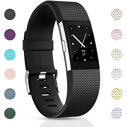 Maledan Replacement Bands Compatible with Fitbit Charge 2 for Women Men, Black, Small