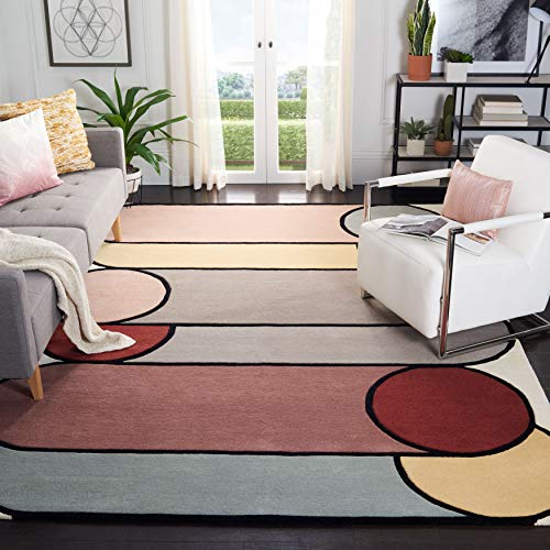Safavieh Fifth Avenue Collection FTV126A Handmade Mid-Century Modern Abstract Wool Area Rug, 8′ x 10′, Ivory / Multi