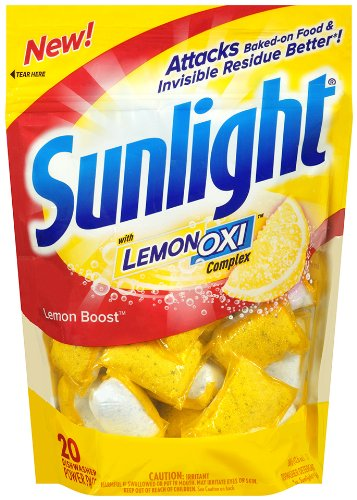 Sunlight Auto Dish Power Pacs with Lemon Oxi, Lemon Boost, 20 Count