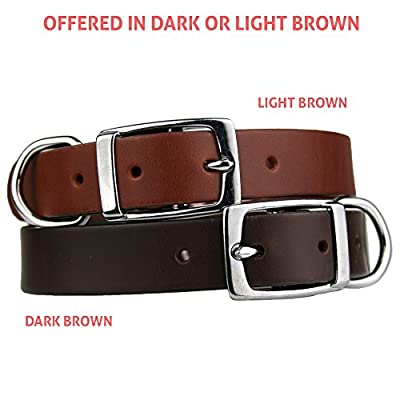 Premium Leather Dog Collar w/Stainless Steel Rivet-On Pet ID Tag. Soft Touch Genuine Italian Leather w/Personalized Stainless Steel Dog Tag. Perfect for Small, Medium, or Large Dogs, Male or Female.