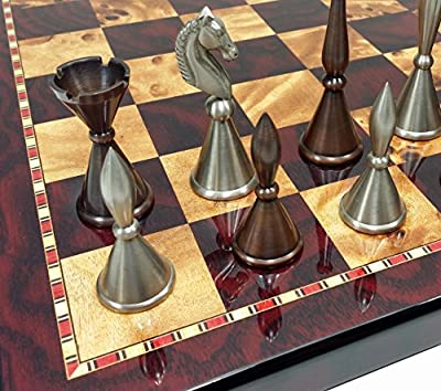 "Real Brass Metal Antique Copper & Silver Color Modern Staunton Chess Men Set W/ 18"" High Gloss Cherry & Birdseye Maple Color Board"