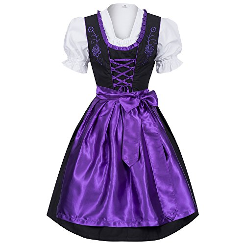 Gaudi-leathers Women's Set-3 Dirndl Pieces 34 Purple/Black (German Ladies Traditional Dress)