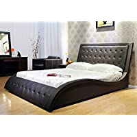 GREATIME B1136-2 Eastern King Black Wave-Like Shape Faux Leather Platform Bed, with Euro Curved Slats