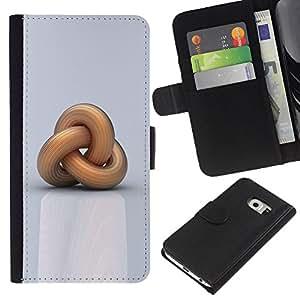 KingStore / Leather Etui en cuir / Samsung Galaxy S6 EDGE / Cadena Significado Profundo Nudo marinero