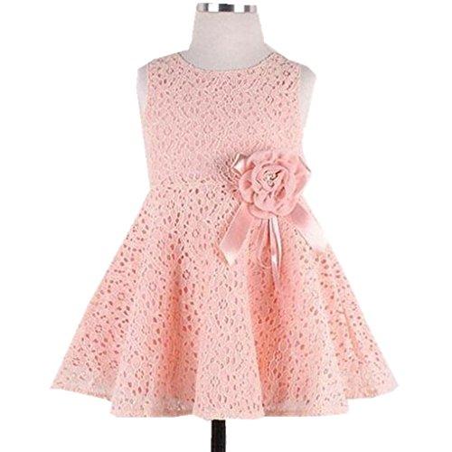 Dress Sleeveless Fall Pink Dress Pink Child Winter Size Baby Haoricu Floral Girl Party 130 Princess Girls Dress Lace Kids 8Uqwx56E