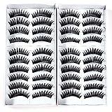20 paire faux cils dense long cil noir maquillage yeux eyelashes CHOIX