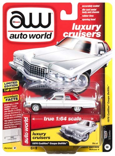 1976 Cadillac Coupe DeVille D'Elegance Gloss White White Interior Luxury  Cruisers Limited Edition to 4,680 Pieces Worldwide 1/64 Diecast Model Car