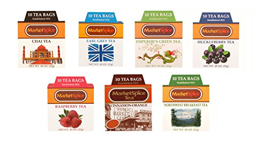 Market Spice Unsweetened Tea Sampler Set, Variety tea pack of 70 Tea Bags, Assortment of 10 Each Cinnamon Orange, Emperor's Green, Raspberry, Chai, Huckleberry, Earl Grey, Northwest (Orange Raspberry Cakes)
