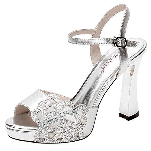 Sandals ZHIRONG Women's Summer Waterproof Platform High Heel Open Toe Rhinestone Thick Heel Fish Mouth Shoes Roman Shoes 10CM (Color : Black, Size : EU39/UK6/CN39) Silver