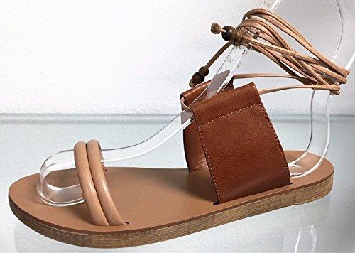 Breckelles Tess-07 Kunstlær Gladiator Åpen Tå Ankel Binde Opp Dusk Flat Sandal Sko Naturlig Naturlig