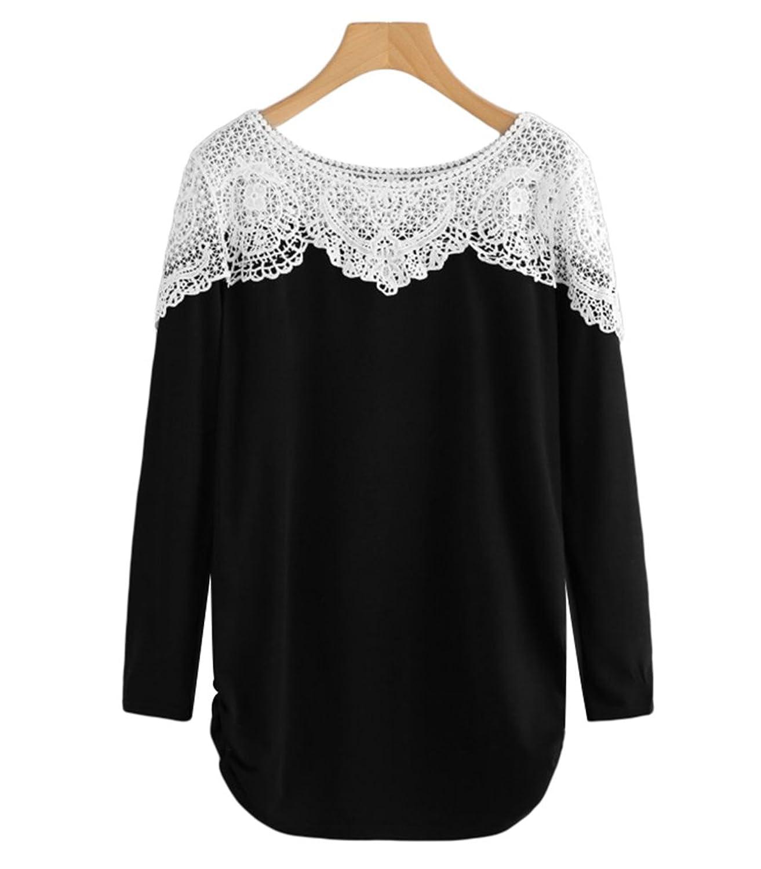 Sentao Elegante Camiseta de Manga Larga Mujer Casual Encaje Empalme  Sudadera Blusa Tops cheap 06ce01bf1c00