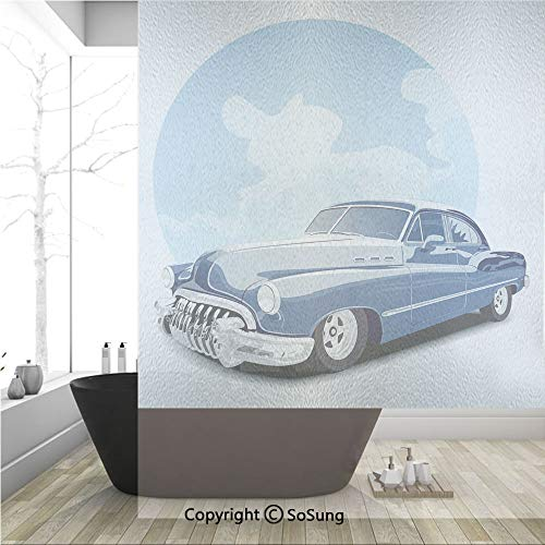 3D Decorative Privacy Window Films,Old Timer Vintage Automobile Collectors Revival Nostalgia American Culture,No-Glue Self Static Cling Glass Film for Home Bedroom Bathroom Kitchen Office 36x48 Inch