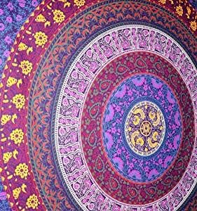 Indus Lifespace Tapiz de círculo de Flores Barhmeri - Tapiz de Mandala Multicolor Colgante de Pared Indio 84 x 94 Pulgadas