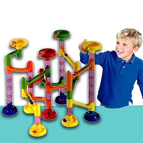 e Coaster Educational Game - 58 Piece Running Balls fun Set - 15 Racing Marbles Plus 43 Building Blocks - Improves Your Child's Brain Function and Motor Skills. (58 Piece Set)