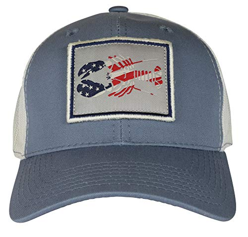 Belted Cow Patriotic Lobster Trucker Hat Vintage Blue ()