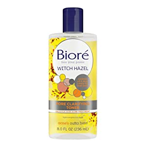 Bioré Witch Hazel Pore Clarifying Toner, 8.0 Ounce, with 2% Salicylic Acid for Acne Clearing and Balanced Skin Purification