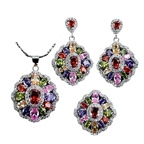 mUm Multicolored Christmas Holiday Indian Wedding Cubic Zirconium Zirconia Jewelry Sets Gift for Her (Includes Necklace, Earrings and Gemstone Ring (6) ()