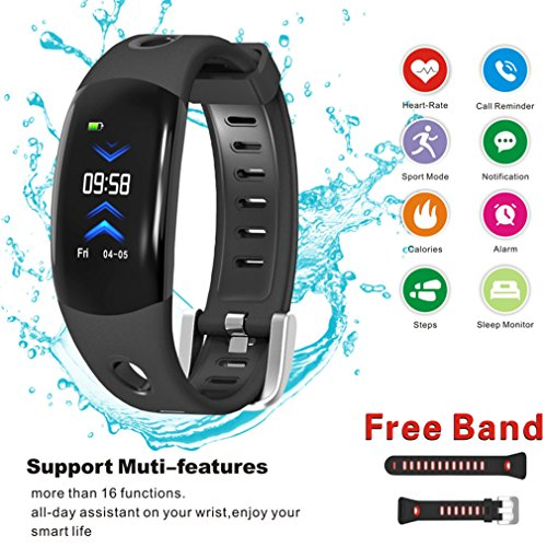 Fitness Tracker - Touch Screen Smart Sport Wristband - Activity Tracker with Heart Rate Monitor Bracelet - IP68 Waterproof Smart Watch - Pedometer for Women Men Kids (Color Screen,2018 Ver)