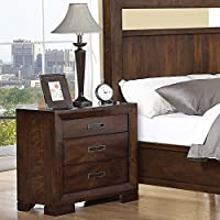 3-Drawer Nightstand in Warm Walnut Finish