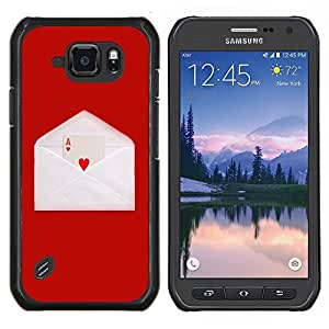 EJOOY---Cubierta de la caja de protección para la piel dura ** Samsung Galaxy S6Active Active G890A ** --Amor Ace Corazón tarjeta de juego sobre de la letra de Red