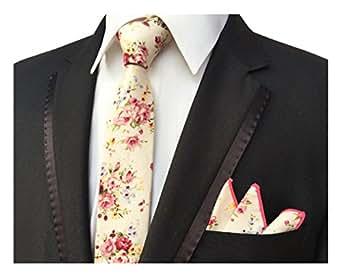 Men's Champagne Pink Elegant Floral Necktie with Pocket Square Gift Set Neat Tie