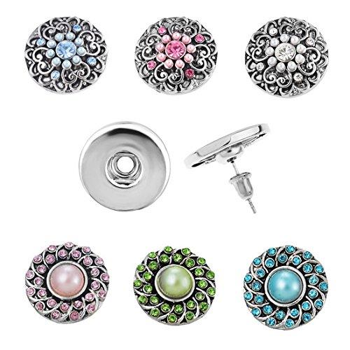 Souarts 1Set Fleur 1Bracelet 1Bague 1Paire Boucles d'oreilles et 1Collier avec 6 Bouton à Pression Strass Cadeaux