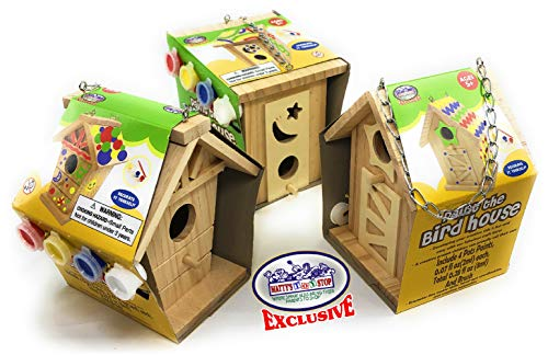 Matty's Toy Stop Paint Your Own Small Wooden Birdhouses (Includes Paints & Brushes) Gift Set Bundle - 3 Pack (3 Included)
