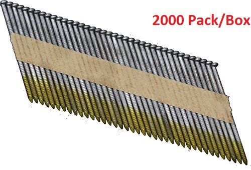 Clipped Head Ring Shank Nails - OrionPower OPN-2 Clipped Head 3 Inch X .120 Inch X 34 Degree Hot Dipped Galvanized Ring Shank Paper Strip Collated Framing Nails (2000-Pack)