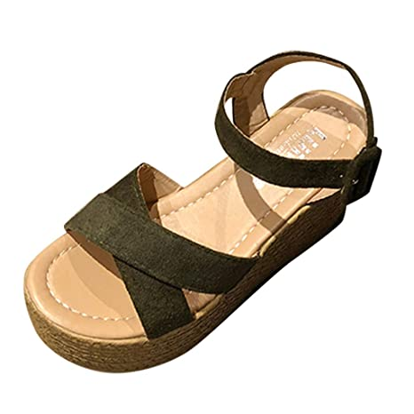 be47ad18e86b Amazon.com  Copercn Women s Ladies Faux Suede Straw Woven Grain Open Toe  Wide Buckle Strap Platform Flat Wedge Sandals Summer Casual Heightening  Sandals  ...