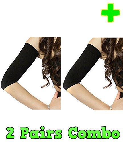 Skinny Arm - HealthyNees 2 Pairs Combo Arm Slimming Compression Support Upper Arms Shaper Toning Sleeve Multi Sizes (L/XL, Black)
