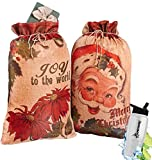Gift Included- Christmas Holiday Santa Claus Giant Jumbo Oversized Gift Sacks Drawstring Bags Shopping Bag Storage Set of 2 + FREE Bonus Water Bottle by Home Cricket