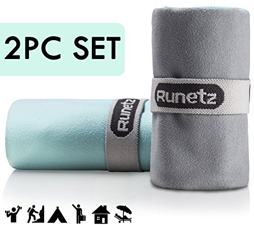 Runetz - 2pc MICROFIBER TOWELS - Super Absorbent & Quick Drying (Sport, Gym, Camp, Car Care, Travel) - 2pc Large & Small Size - (Lip Mop)