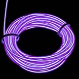 Lychee 9ft 3m Neon Glowing Strobing Electroluminescent Light El Wire Battery Pack for Parties Halloween Decoration (Purple)