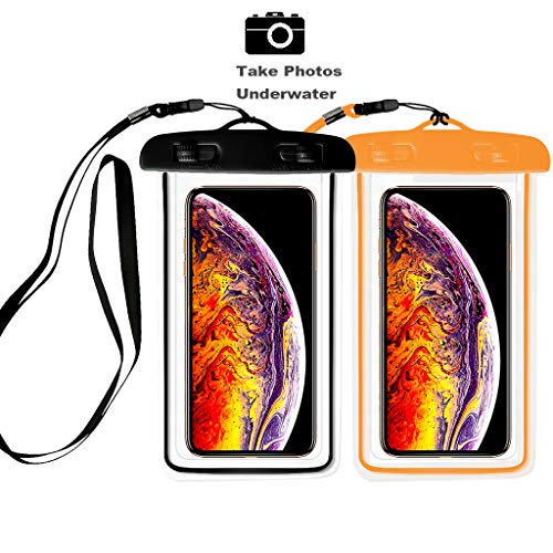 ([2pack] Universal Waterproof Case, IPX8 Waterproof Phone Pouch Dry Bag Compatible for iPhone Xs Max/XS/XR/X/8/8P/7/7P Galaxy,Upto 6.0