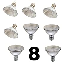SleekLighting Halogen 60Watt(75W replacement) Par30, Short Neck, Wide Flood Bulb (45 Degrees), E26 Base, 110-130v, 2750k - 1100 Lumens, Pack of 8 ...