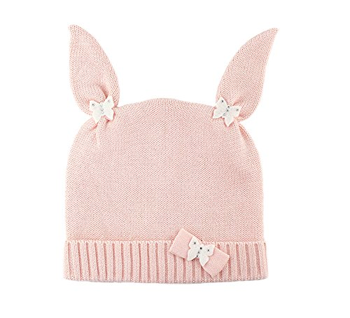Genda 2Archer Cute Baby Girl's Winter Knitted Cap Bunny Cuff Beanie Hat Pink (0-3 (Girls Snow Bunny Costume)