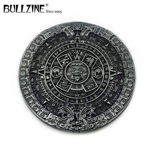 Pewter Belt Buckle Aztec Calendar - Buckes - The Wholesale Aztec Calendar Circle Western Men's Cowboy Belt Buckle with Pewter Finish FP-03217 Manufacturer