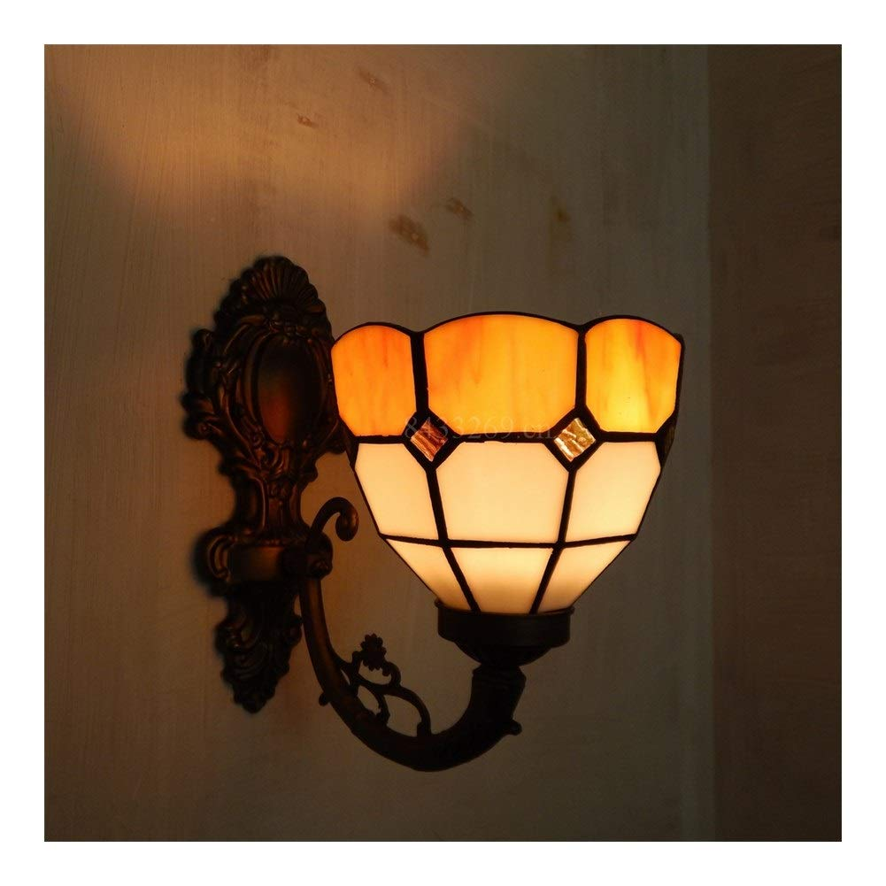 Soft Lighting 8inch Handmade Wall Chandelier with Stained Glass for Home Decoration European Style Handmade (Color : 2)