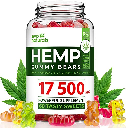 Premium Hémp Gummies - Made in USA - 17500 MG Total, 292 MG Each - Tasty & Relaxing - Stress & Anxiety Relief - Special Blend - Vitamins B, E - Amino Acids - Omega 3, 6, 9 & More - Safe and Natural (Best Amino Acid Supplements For Anxiety)